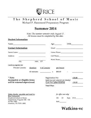 Fillable Online music rice Registration Form - CW - Shepherd ...