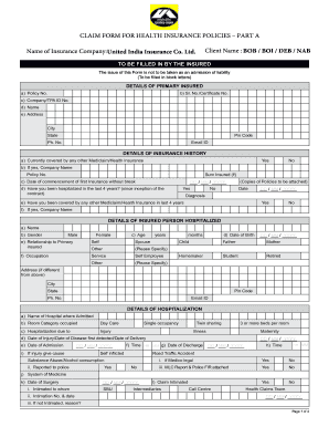 Claim Form Part A New India Assurance Fill Online Printable