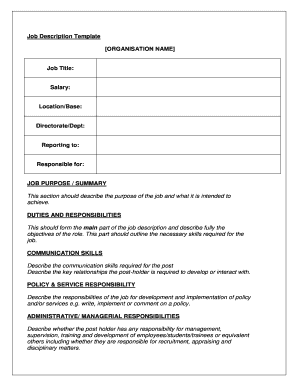 Job Position Proposal Template Forms Fillable Printable