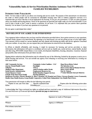 Fillable Online danecountyhomeless VI-SPDAT Consent Form for ...