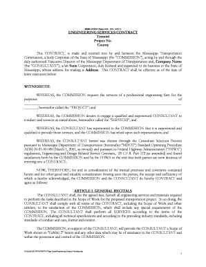 Engineering Service Contract Template - Mississippi Department of ...