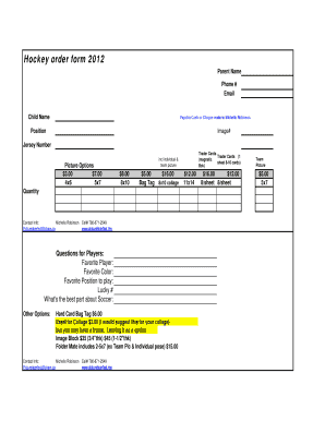 Hockey order form 2012 - RAMP Interactive