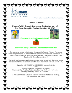 Putnam's 5th Annual Scarecrow Contest as part of The Great