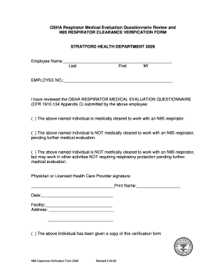 Fillable Online N95 Respirator Clearance Verification Form - Town ...