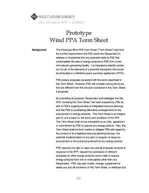 Prototype Wind PPA Term Sheet - Puget Sound Energy