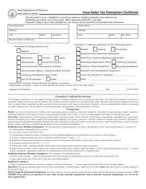 Fillable Online Iowa sales tax exemption certificate - Liquidation ...