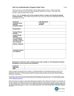 Human Cell Line Authentication order form- UK ... - LGC Standards