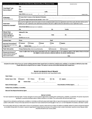 Fillable Online State of iowa official absentee ballot request ...