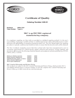 226-51 Silica Gel Certificate of Quality Form 37325 - SKC Inc.