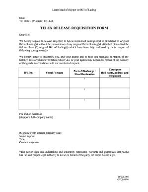 Fillable Online TELEX RELEASE REQUISITION FORM - OOCL Fax ...