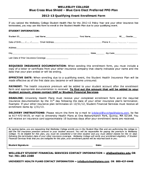 Submit blue cross blue shield qualifying event and Document