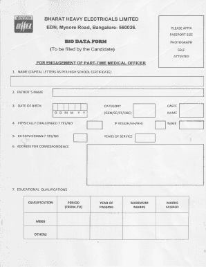 Biodata Form - Bharat Heavy Electricals Ltd.