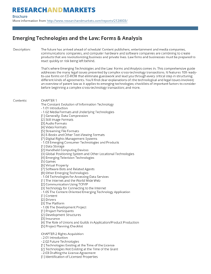 Emerging Technologies and the Law Forms & Analysis