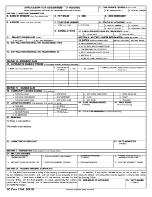 Fillable Online APPLICATION FOR ASSIGNMENT TO HOUSING DD Form 1746 ...