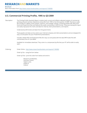 U.S. Commercial Printing Profits, 1995 to Q3-2009 - Research and