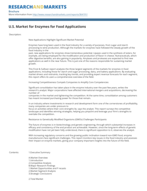 U.S. Market for Enzymes for Food Applications - Research and