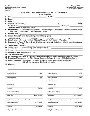 Fillable Online Form 21. Residential Purchase and Sale Agr. (Rev ...