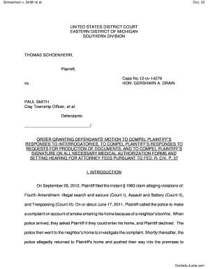Fillable Online ORDER Granting 28 Defendants Motion to Compel ...