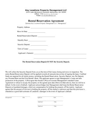 Fillable Online To Download Rental Reservation Agreement - Key ...