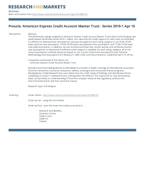Presale American Express Credit Account Master Trust - Series 2010-1 Apr 10