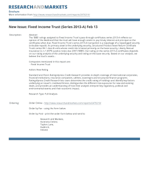 New Issue: Fixed Income Trust (Series 2013-A) Feb 13