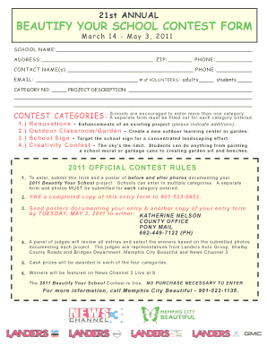21st ANNUAL BEAUTIFY YOUR SCHOOL CONTEST FORM