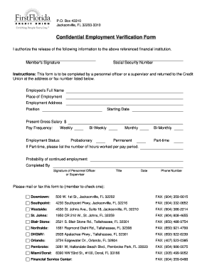 Fillable Online Confidential Employment Verification Form - First ...