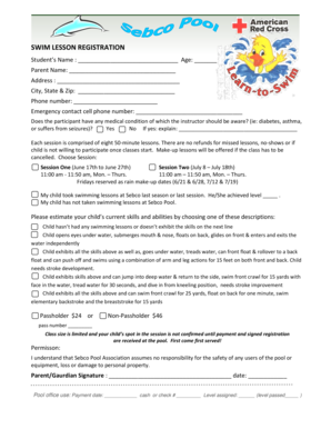 Fillable Online Swim Lesson Registration Form Sebco Pool Fax Email Print Pdffiller