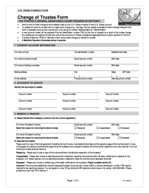 Fillable Online Change of Trustee Form - US Global Investors Fax ...