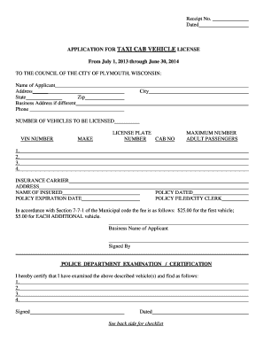 Taxi Cab Vehicle License Application - City of Plymouth Wisconsin