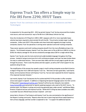 Express Truck Tax offers a Simple way to File IRS Form 2290 - PRWeb