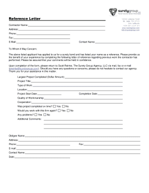Printable sample letter of recommendation for general contractor