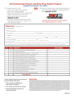 2013 Independent Repair and Body Shop Rebate ... - ClickMotive