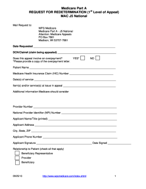 Wps Redetermination Form For Medicare Part A J5 National - Fill ...