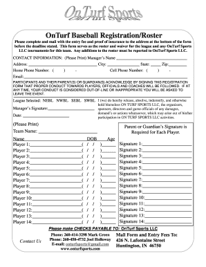 Team roster/waiver form - OnTurf Sports!
