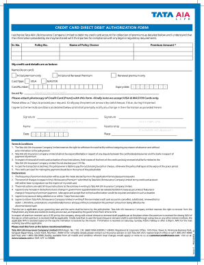 tata aia direct credit authorisation form