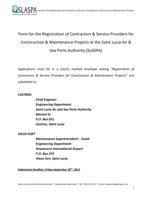 Form for the Registration of Contractors & Service Providers for