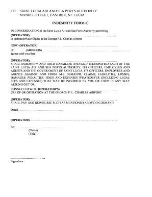 To download the Airport Indemnity Form - C (PDF) - Saint Lucia Air