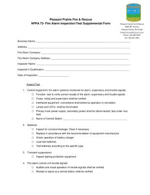 Fillable Online Fire Alarm Inspection/Test Supplemental Form ...