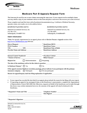 Fillable Online Medicare Part B Appeals Request Form - National ...