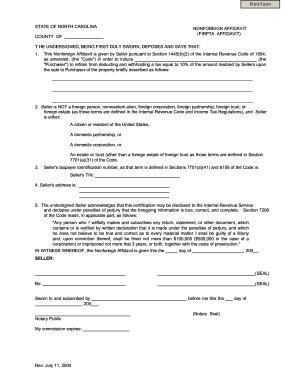 State Of Nc Firpta Affidavit - Fill Online, Printable, Fillable ...