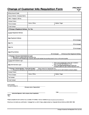 Change of Customer Info Requisition Form