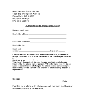 Best Western Third Party Credit Card Authorization Form - Fill ...