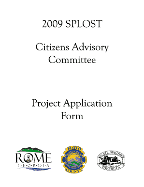 2009 SPLOST Citizens Advisory Committee Project Application Form