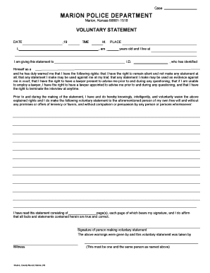 Fillable Online Voluntary Statement form Fax Email Print - PDFfiller