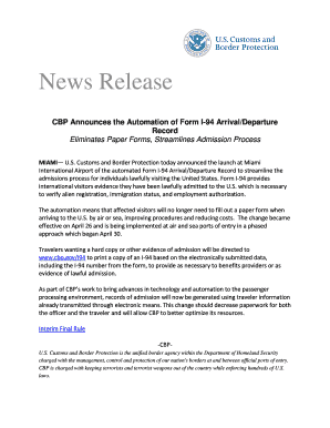 CBP Announces the Automation of Form I-94 Arrival/Departure Record
