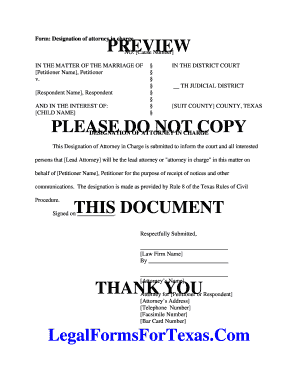 Form: Designation of attorney in charge