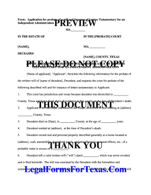 form application for probate of a will and issuance of letters