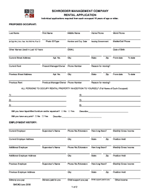 Schroeder management company rental application - Apartments