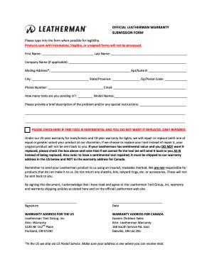 Leatherman Warranty Form - Fill Online, Printable, Fillable, Blank ...